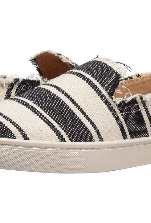 Soludos Striped Slip-On Sneaker (Black/Natural) Women's Slip on Shoes -