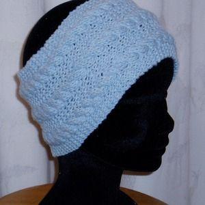 4e038ddf340e Bandeau, serre tête cache oreilles en laine bleu tricoté main parfait pour  le ski