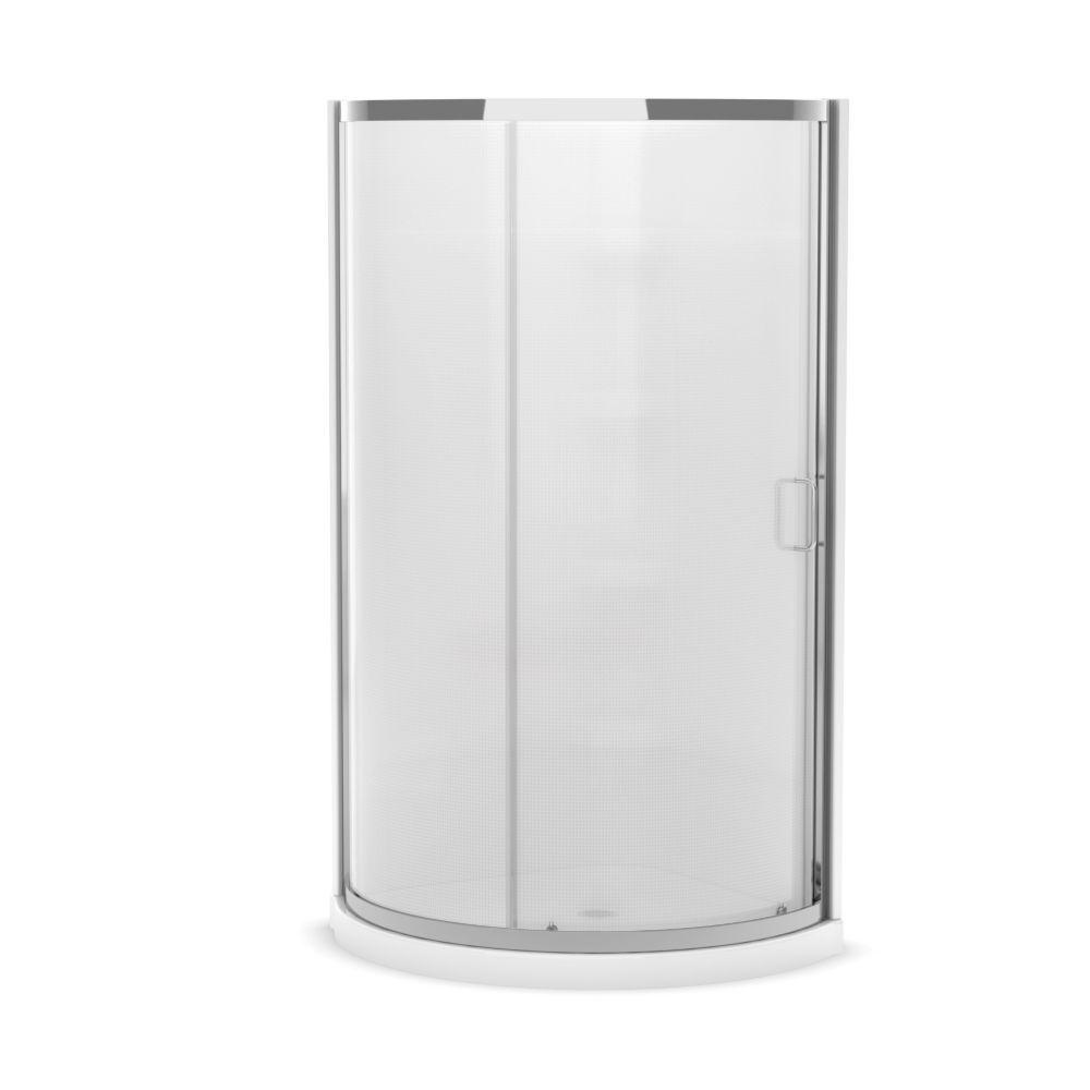 Iris II 34-Inch x 34-Inch x 76-Inch Round Shower Stall in White ...