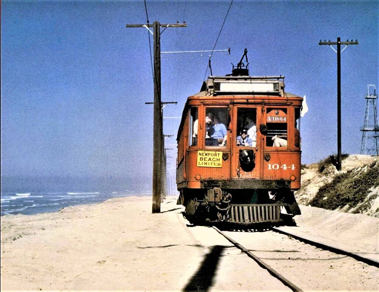The Red Car Newport Beach Limited Passing Through Huntington Beach On It S Way From Los An Cities In Los Angeles San Luis Obispo County Los Angeles History