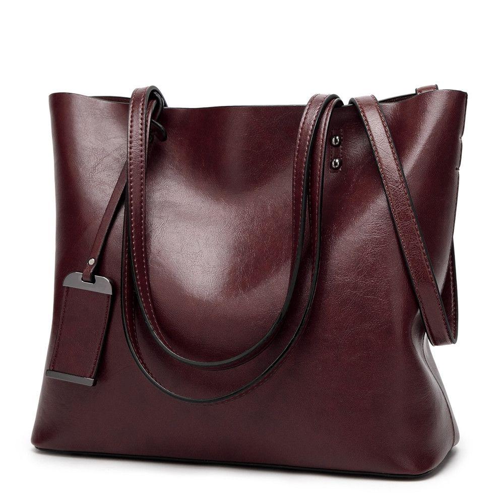 a9901b03cc48d  19.99 - ilishop PU Leather Handbag Designer Pures - Pure Color Large  Capacity Shoulder Bag-Classical Tote Bags
