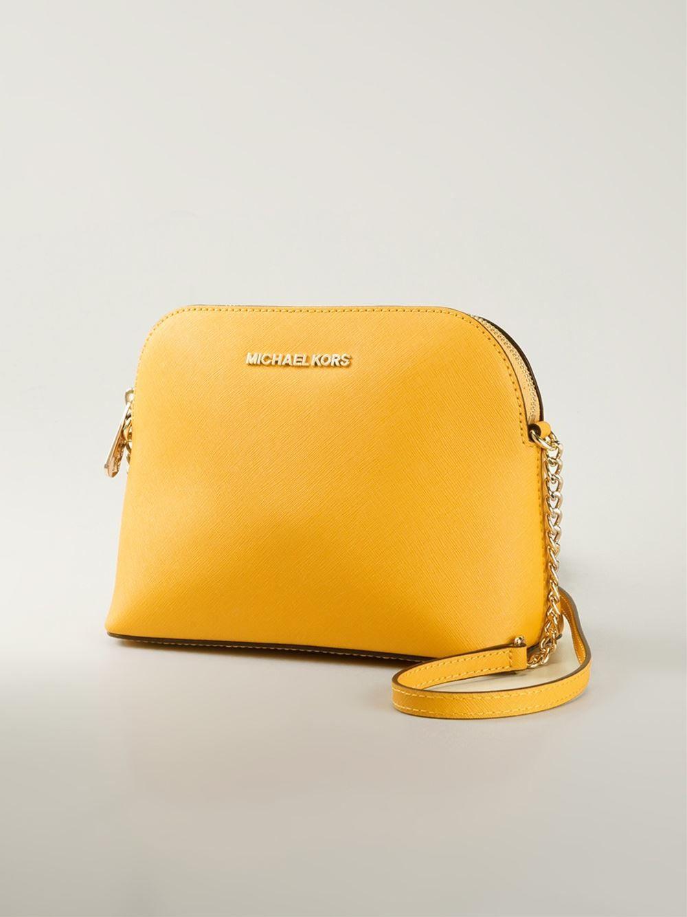 3159d13c74d049 Michael kors Cindy Large Calf-Leather Cross-Body Bag in Yellow (yellow &  orange) | Lyst