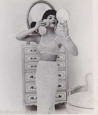 NANCY WESTBROOK 1950s BULLET BRA MODEL VINTAGE LINGERIE FASHION SHOOT PHOTO