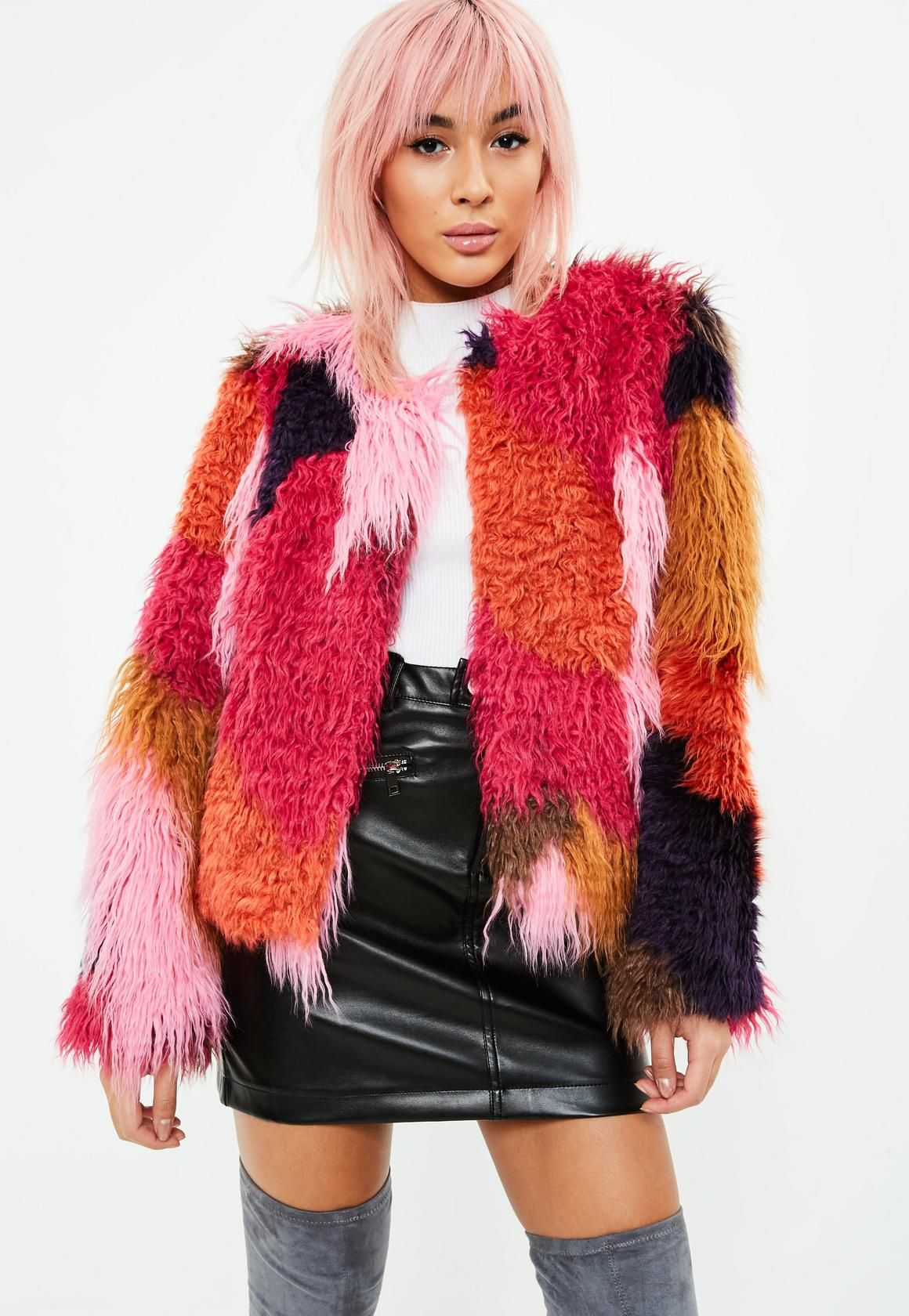 a2f9af8870 Missguided - Red Patch Work Faux Fur Coat | c l o t h i n g ...