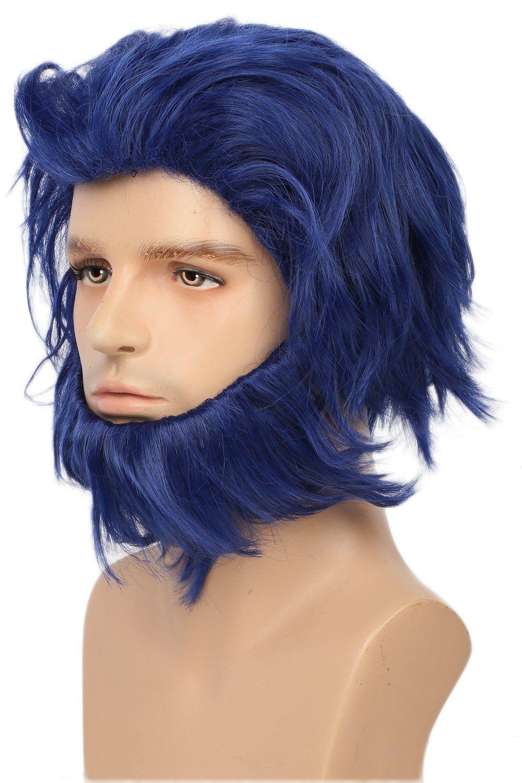 Halloween X Men Beast Wig Movie Cosplay Costume Blue Short Hair Accessories Beard Props For Men Xcoser Cos Short Hair Accessories Beast Wig Short Hair Styles