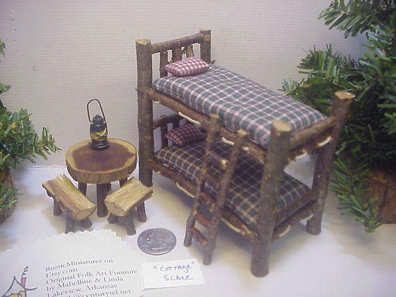 COTTAGE SIZE Bunkbeds Rustic Miniature Dollhouse Log Cabin Furniture Set 9 pieces BJD RealPuki Doll