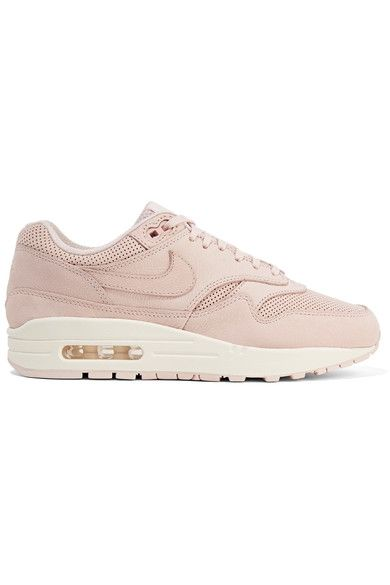 save off b60cb 2df6d Nike - Air Max 1 Pinnacle Perforated Faux Nubuck Sneakers - Pastel pink -  US10.5