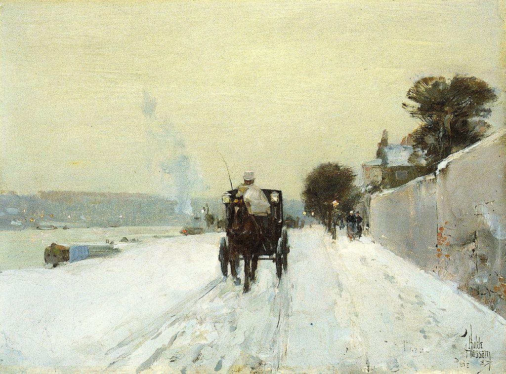Frederick C Hassam. Along the Seine, 1887