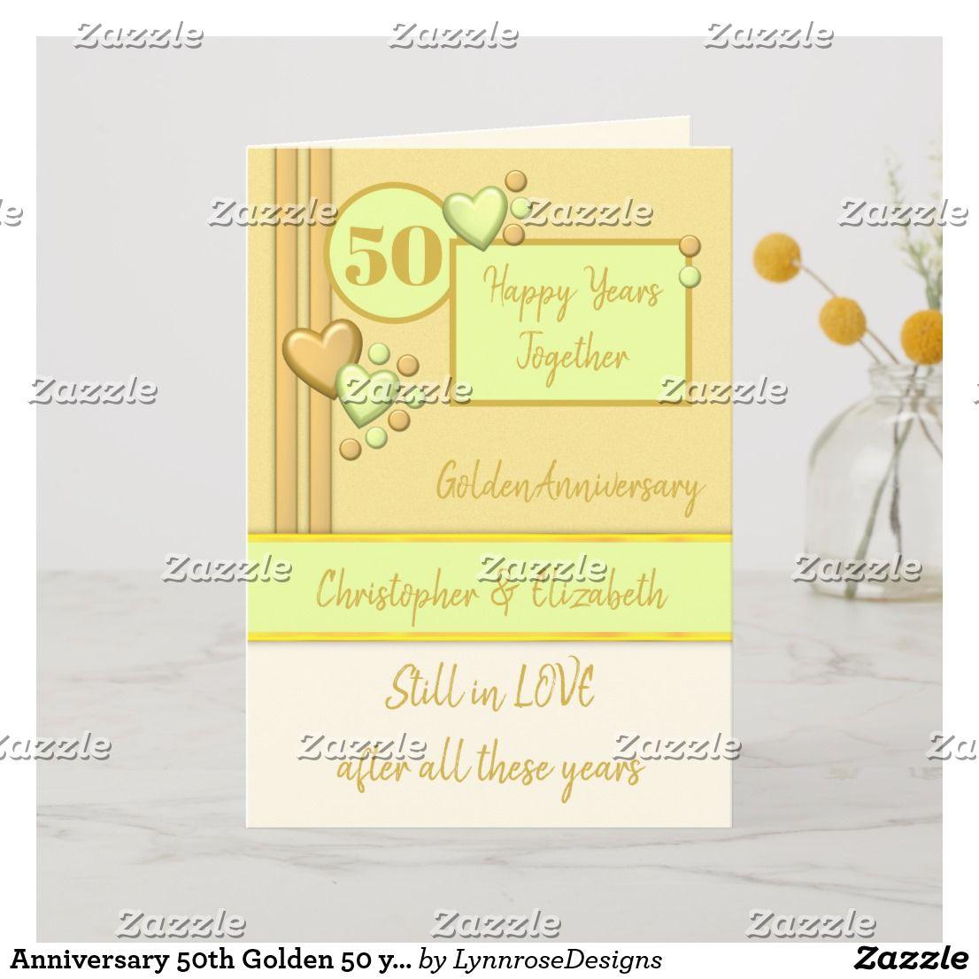 Anniversary 50th Golden 50 years green cream Card Zazzle