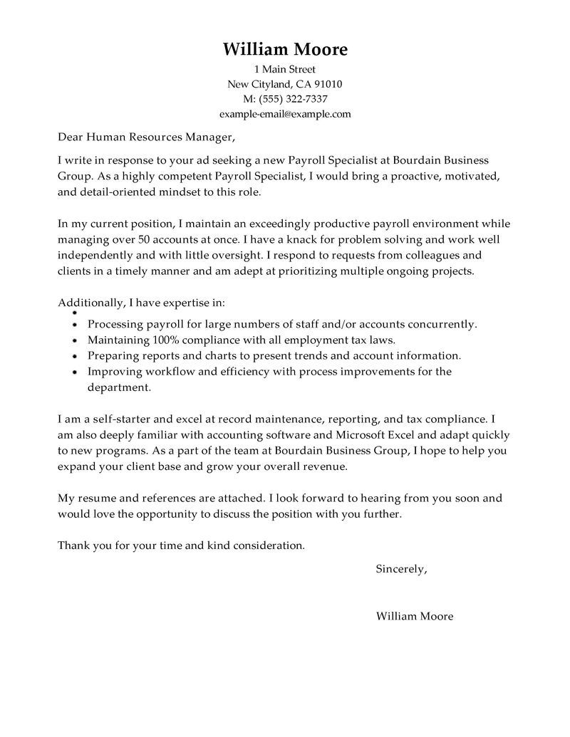 Payroll Specialist Cover Letter Sample  Job Search  Cover letter for resume Resume Sample resume