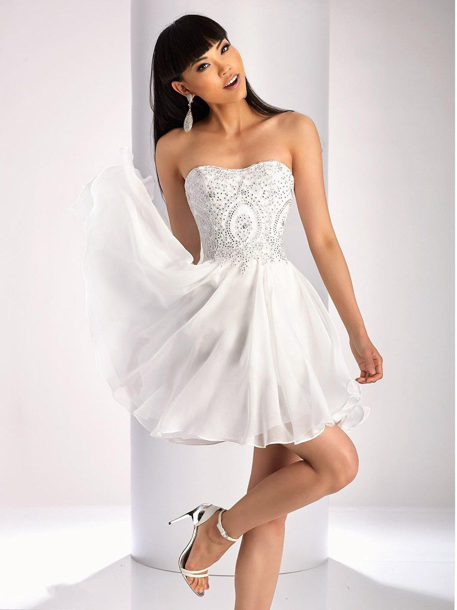 Aline short white strapless lace chiffon party