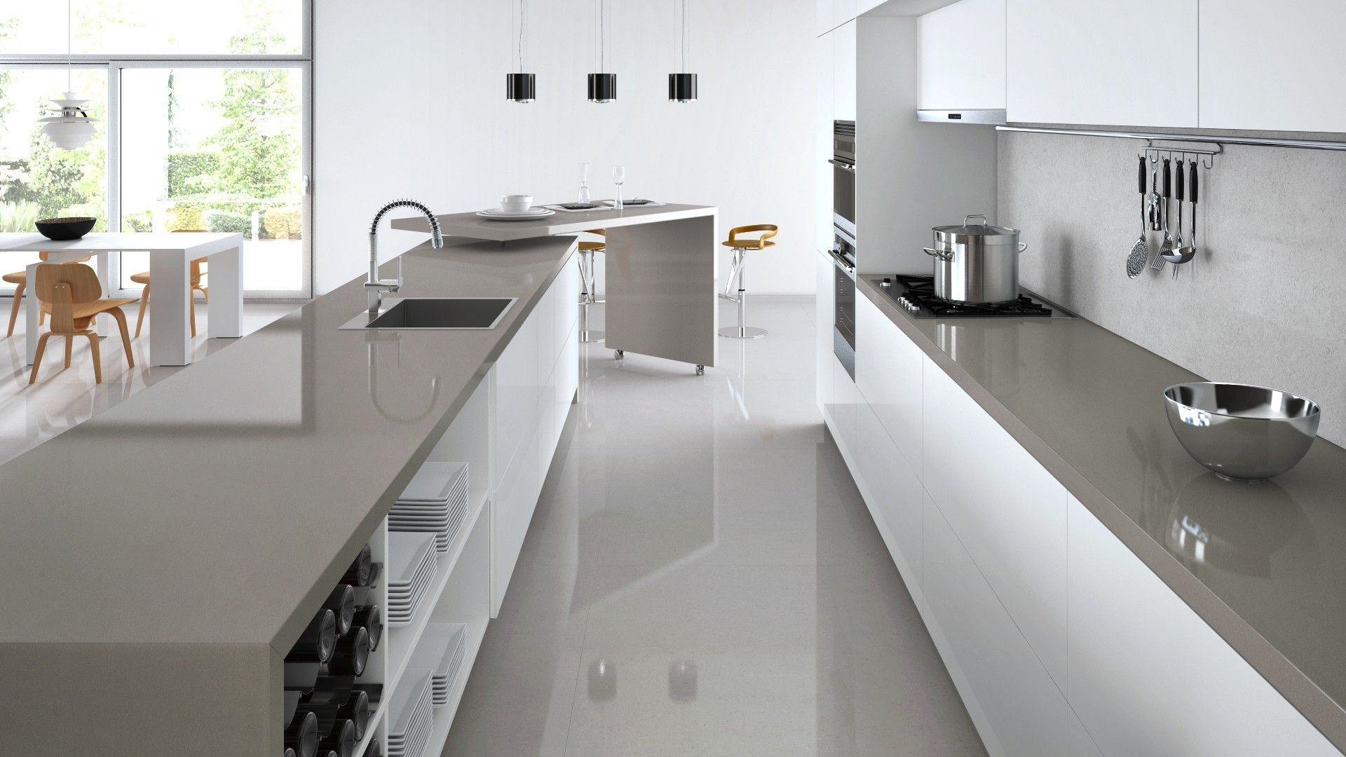 Dark benchtop and light grey splashback ideas for the for Light grey modern kitchen