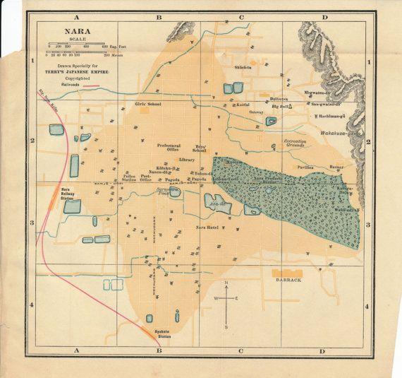 1928 Nara Japan Antique Map ࿈ ↠ ᒍ͈ᗩ͈ᑭ͈ᗩ͈ᑎ͈