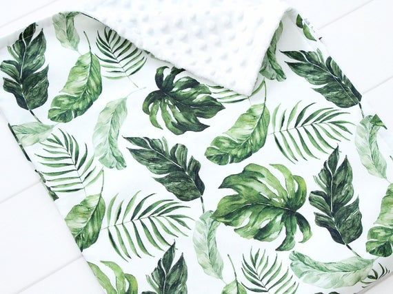 Tropical Personalized Blanket, Watercolor Palm Leaf Blanket, Custom Security Blanket, Monstera Leaf #securityblankets