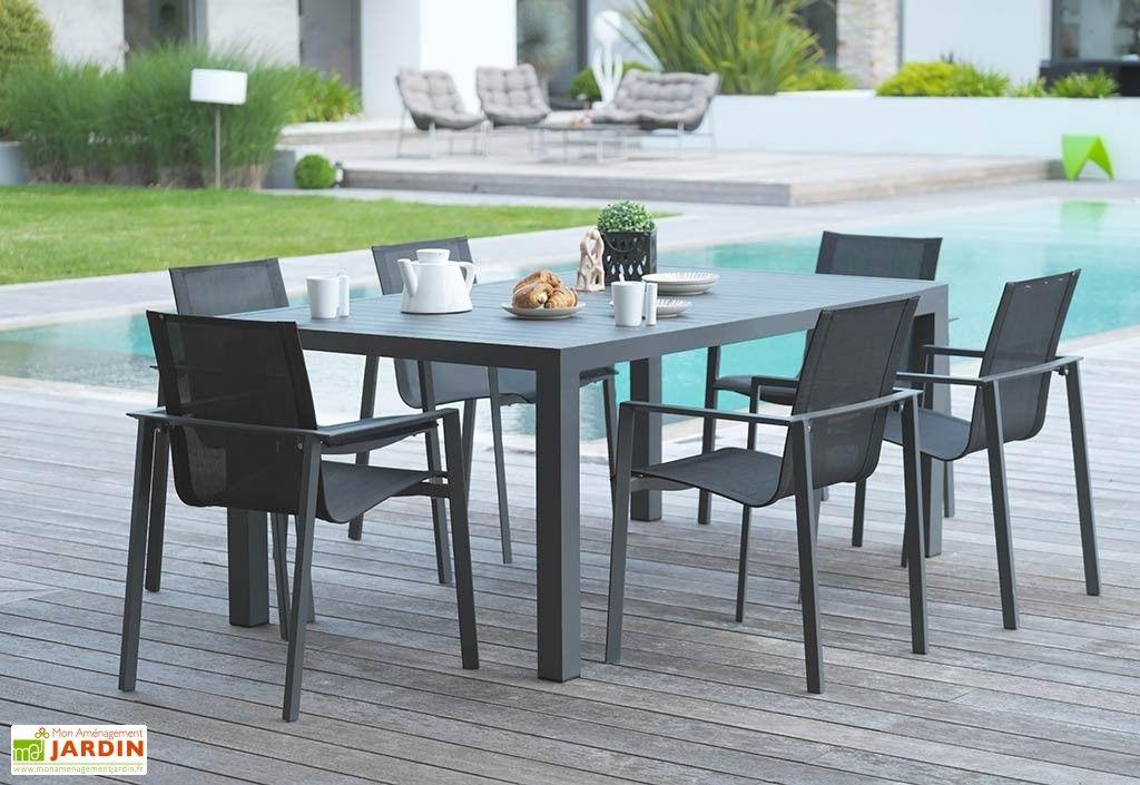 Salon de Jardin Miami en Aluminium Gris Anthracite : 1 Table + 6 Fts ...
