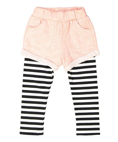 Another great find on #zulily! Coral Stripe Short Leggings - Toddler #zulilyfinds