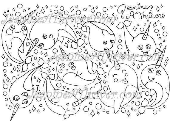 Kawaii Narwhal Paisleys - Adult Coloring Page for sale on Etsy ...