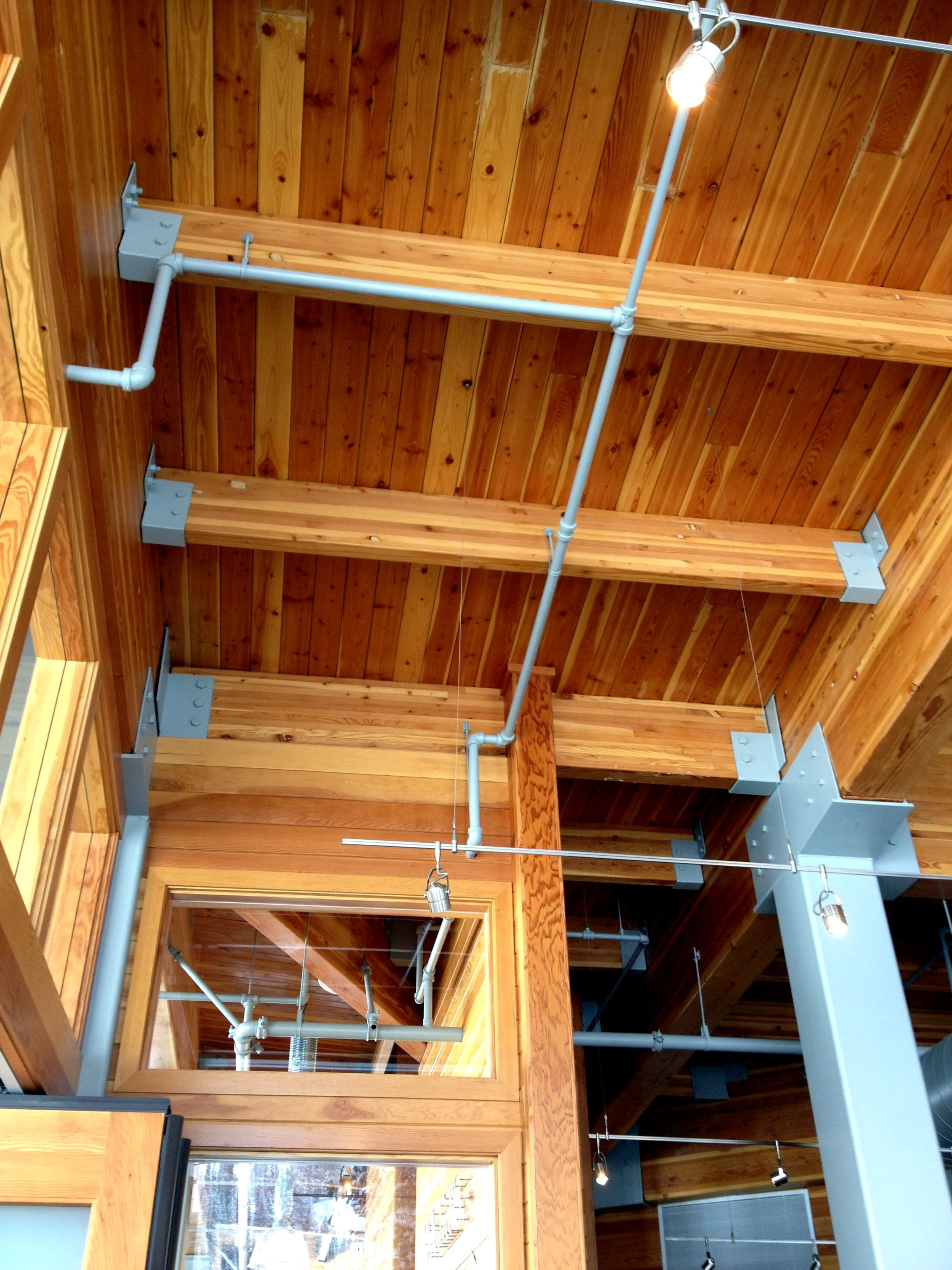 Douglas Fir Laminated Beams With 2 X 6 Roof Decking At Collins Grill At Alta Ski Resort Ut Exterior Wood Interior And Exterior Roof Deck