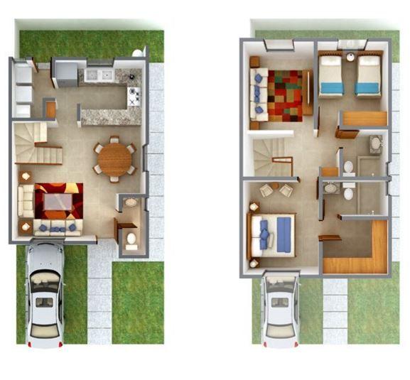 Casas peque as de 2 plantas house pinterest casas for Construccion de casas pequenas modernas
