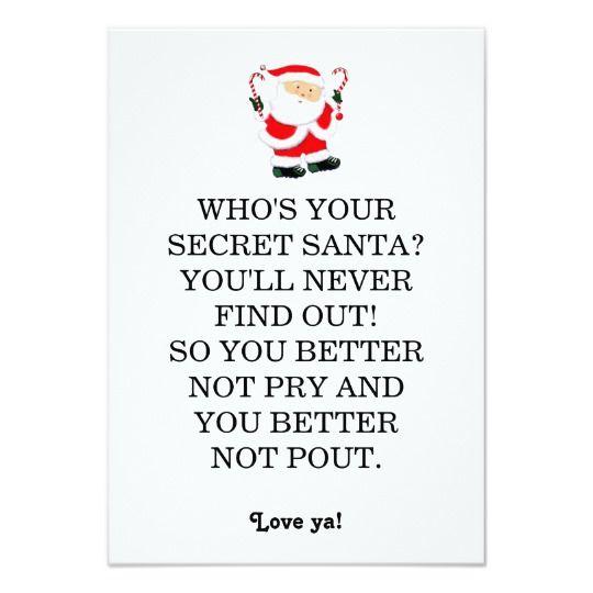 Secret Santa poem Card