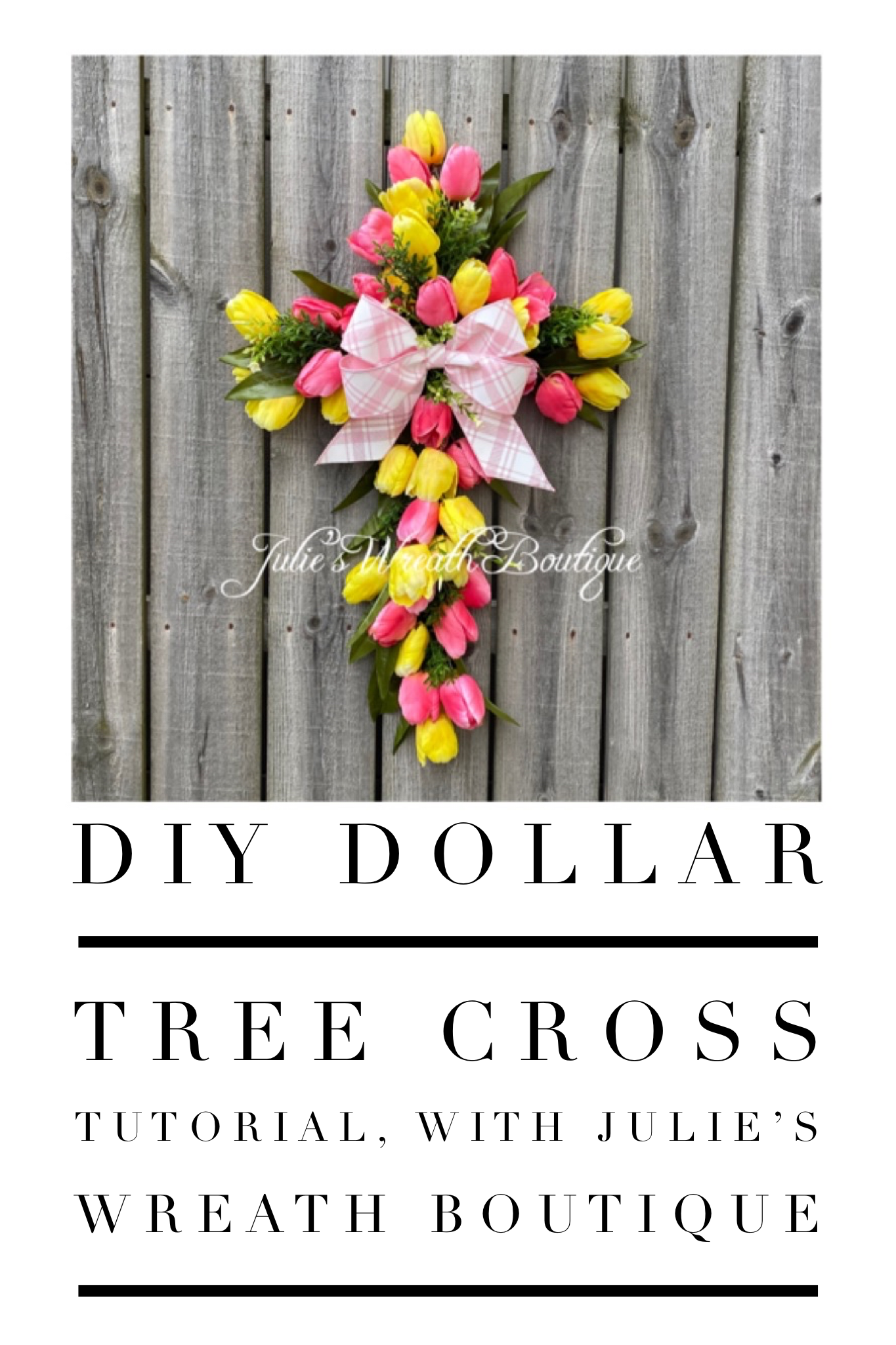 Make your own wreath with a Dollar Tree Cross Frame. DIY