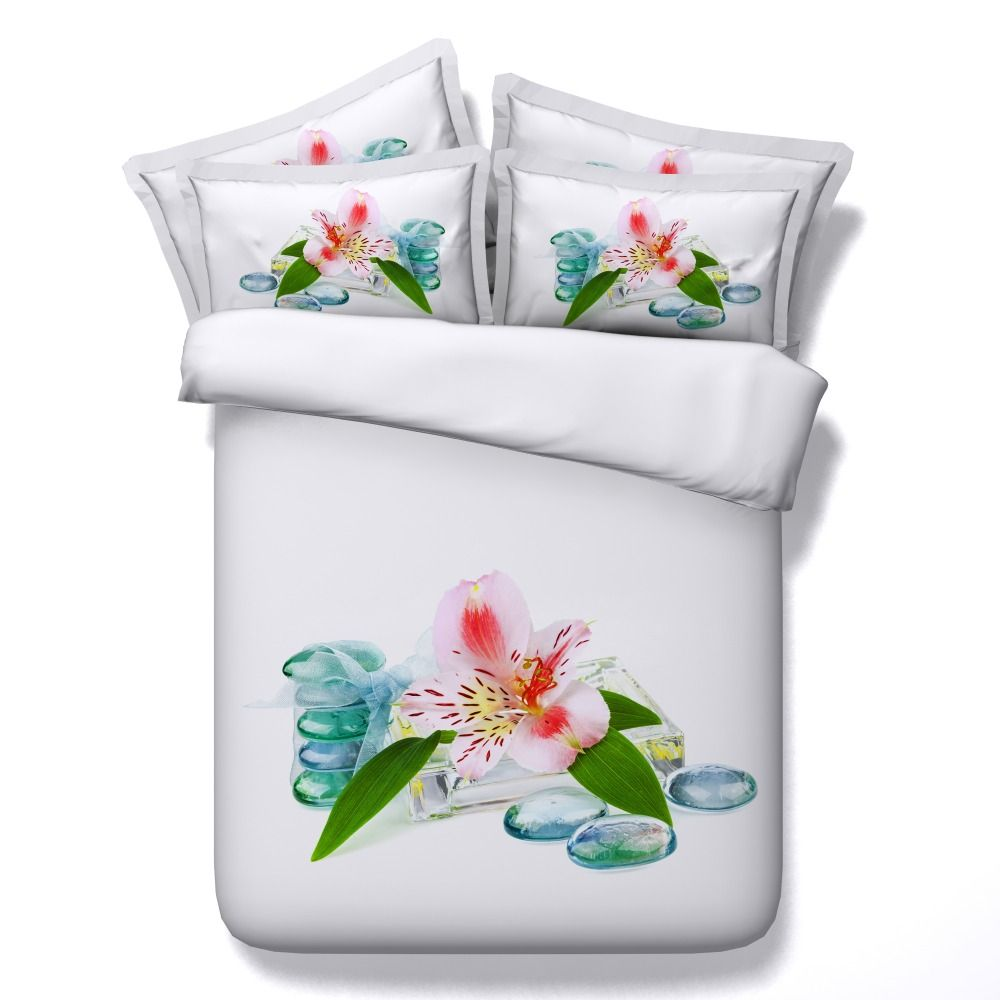 6 Parts Per Set Bed Sheet Set Tranquil Tiger Lily flower and glass stone HD digital print 3d bed sheet set