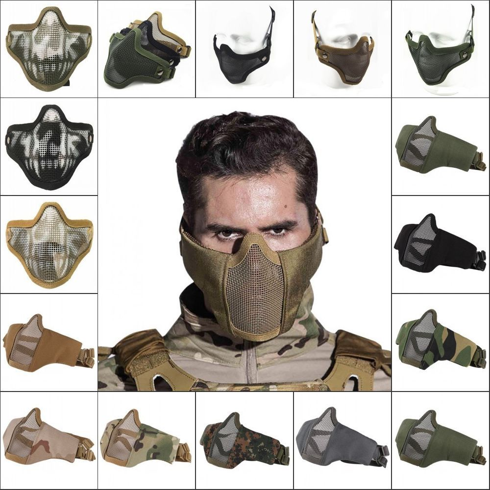 Tactical Airsoft Half Face Mask Steel Mesh Face Cover Army Protective Mask Gear Unbranded Airsoft Airsoft Mask Cool Masks