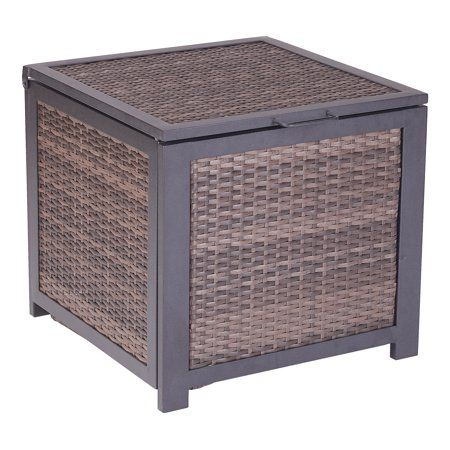 Mainstays Cel Outdoor Wicker Storage Cube In Espresso