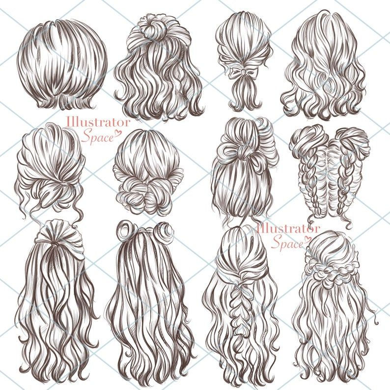 Hairstyles clipart hair set DIGITAL DOWNLOAD Custom hairstyles Hair clip art Character hair Fashion girl gift Planner Clipart, 12 png images -   10 hair Art sketch ideas