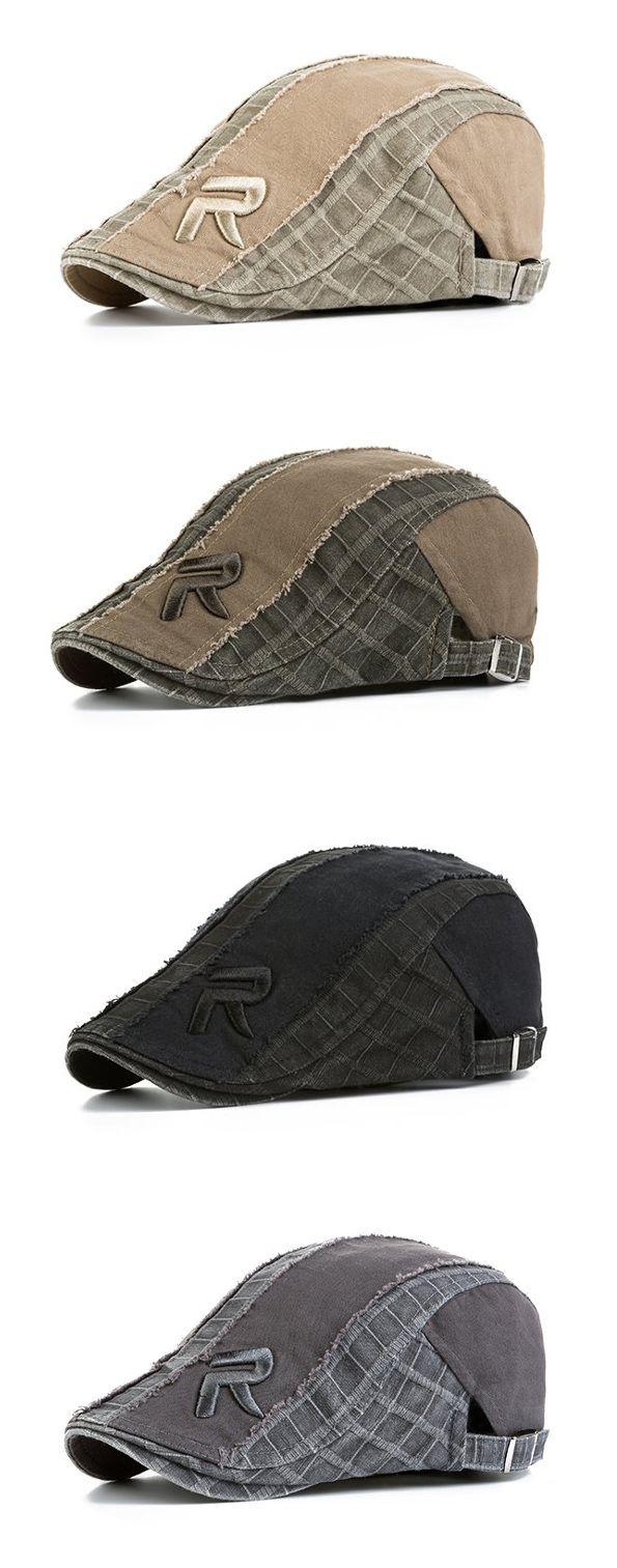 Men Women Cotton Vintage Grid Beret Cap Newsboy Adjustable Beret Hat ...