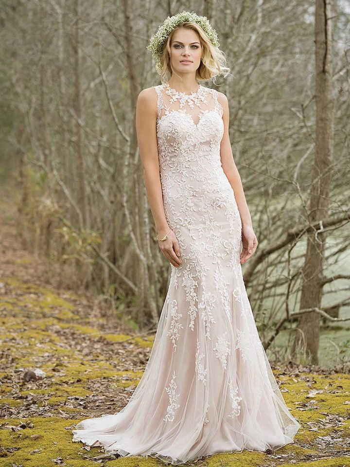 High Neck Fit and Flare Tulle and Lace Gown | itakeyou.co.uk #weddingdress #weddingdresses