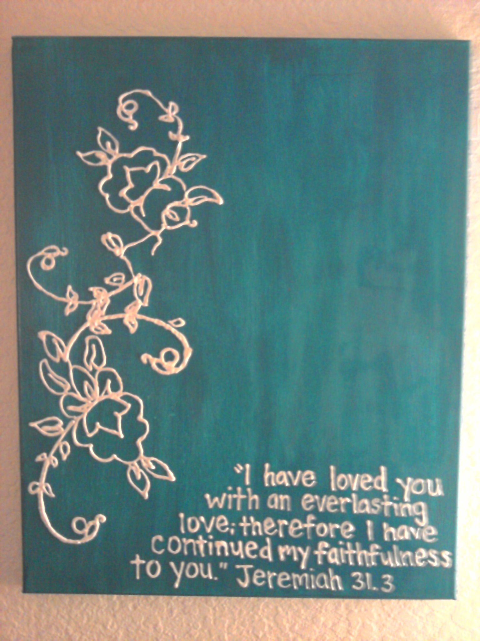 Puffy paint designs - Puffy Paint On Canvas Jeremiah I Like This Idea Might Do My Own Favourite Quote Instead
