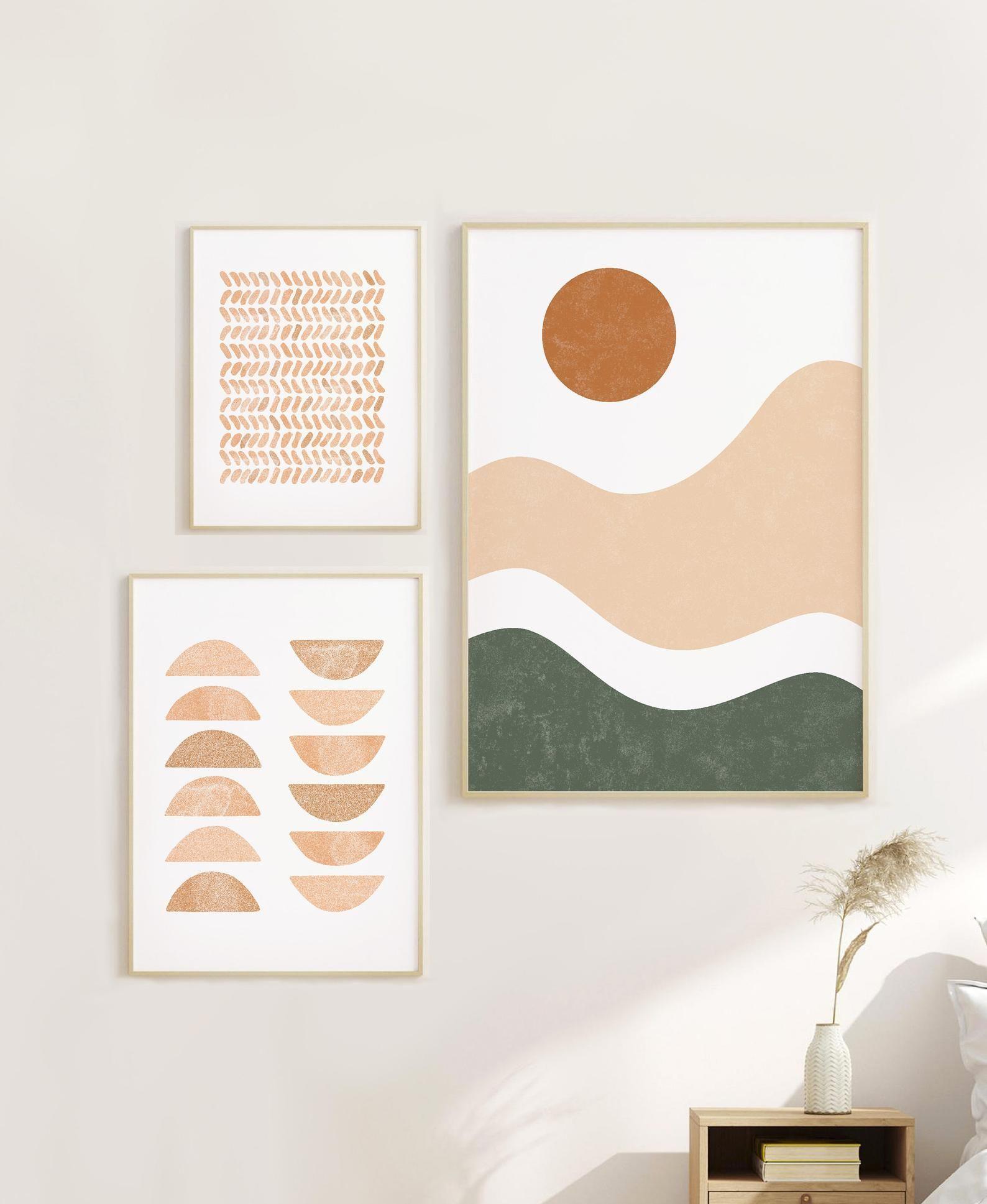 Set Of 3 Scandinavian Prints Sunset Print Abstract Wall Art Etsy In 2020 Boho Wall Art Art Wall Kids Etsy Wall Art