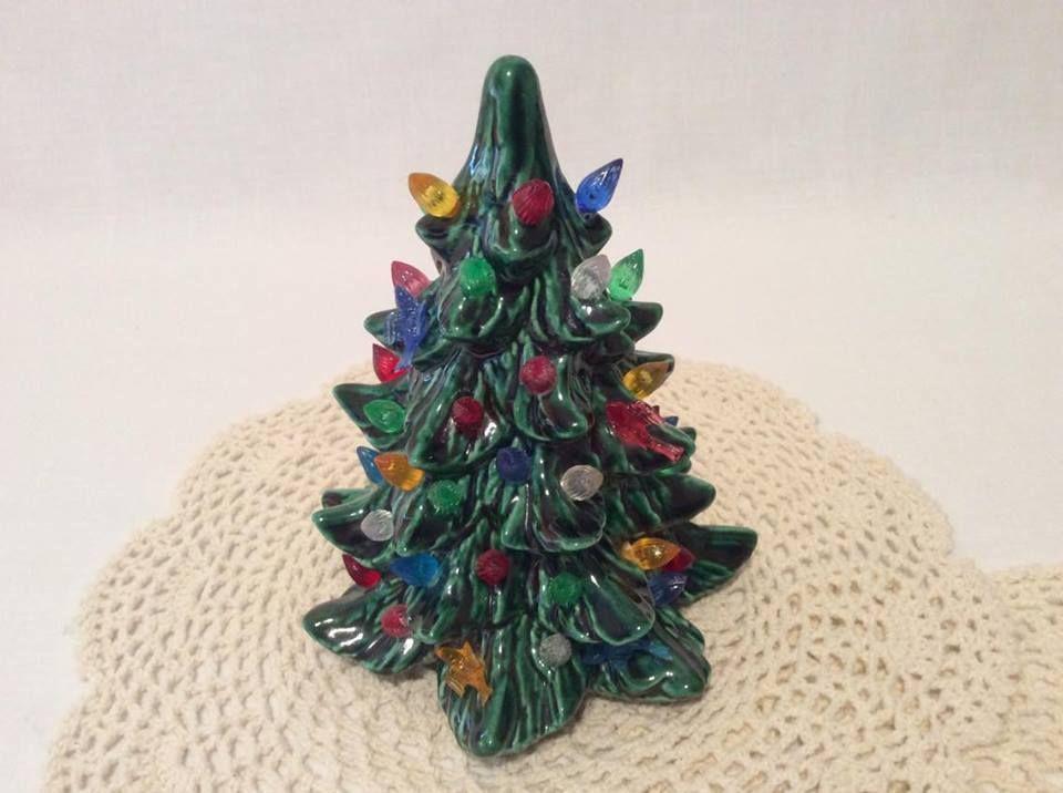Vintage 7 Ceramic Christmas Tree Mini Regular Coloured Lights and