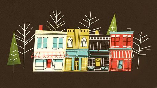 Houses, part of a Big Fish poster by Brad Woodward (via designworklife) #BradWoodward #BigFish #house
