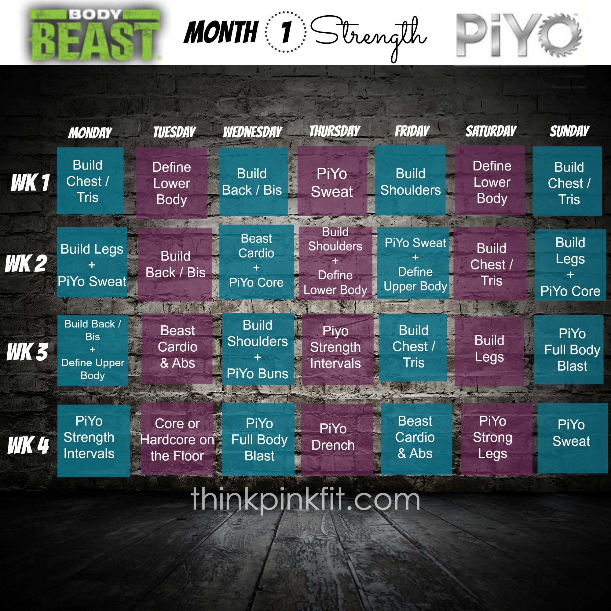 Beast Amp Piyo Hybrid Month1
