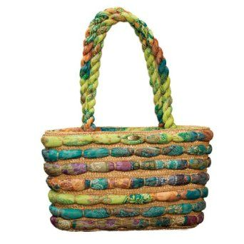 Cappelli Straw Bag With Assorted Fabrics (Multi)