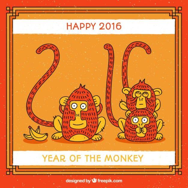 Lade Jahr Des Affen Lustige Karte Kostenlos Herunter Year Of The Monkey Funny Cards Wise Monkeys