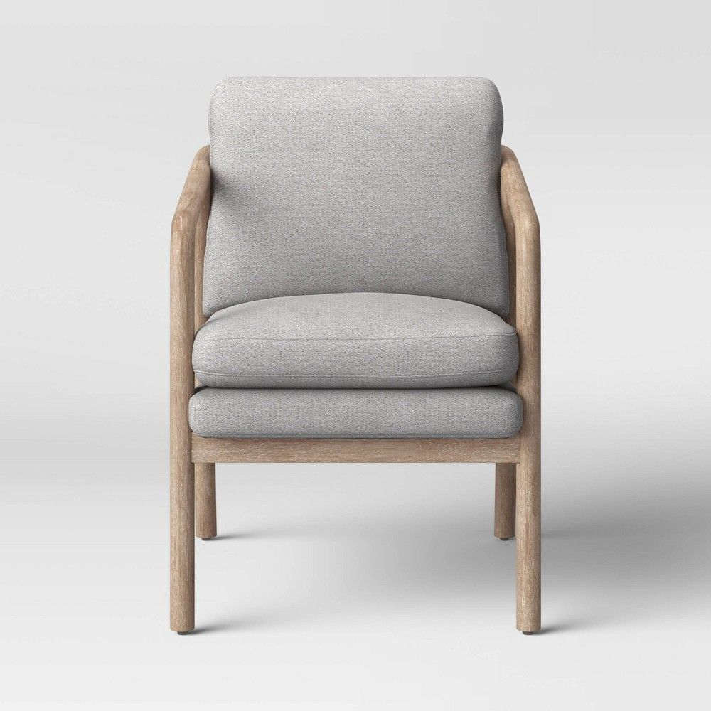 Tufeld Wood Arm Chair Beige Project 62 Wood Arm Chair