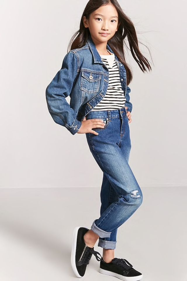 Girls Distressed Jeans (Kids) in 2020   Fall fashion outfits
