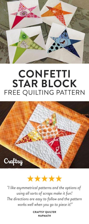 Scrap Friendly, Confetti Star Block Free Quilt Pattern - Beginner