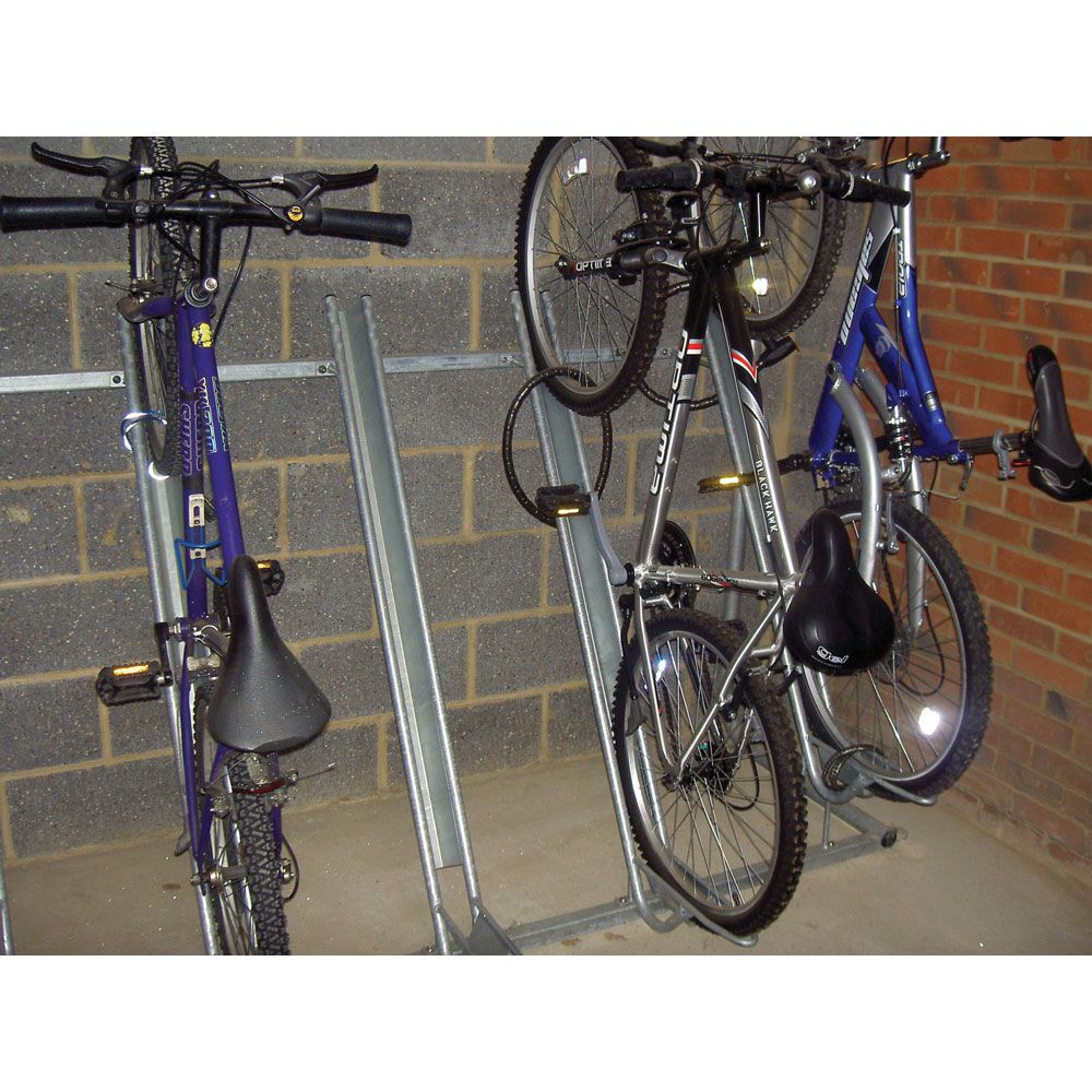 Look jeremy s bicycle rack apartment therapy - Semi Vertical Bike Rack