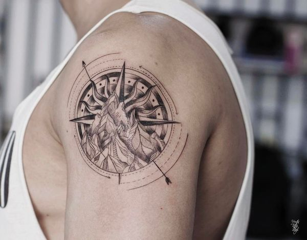 a397a4238b9cb Minimalistic Compass Shoulder Tattoo with Mountains   inked ...