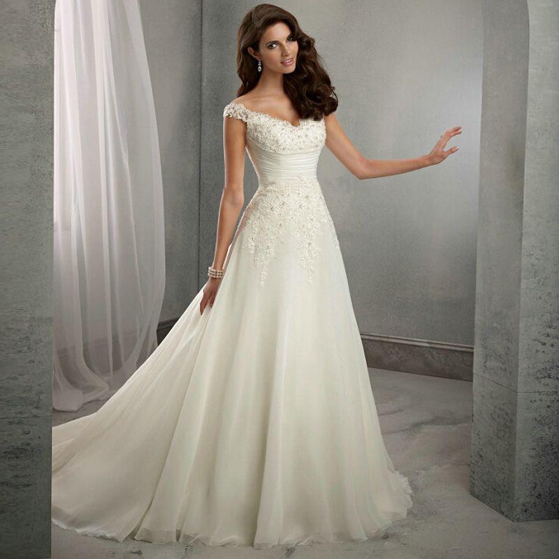 Vestido De Noiva New Design Cap Sleeves Casamento A line Robe De ...