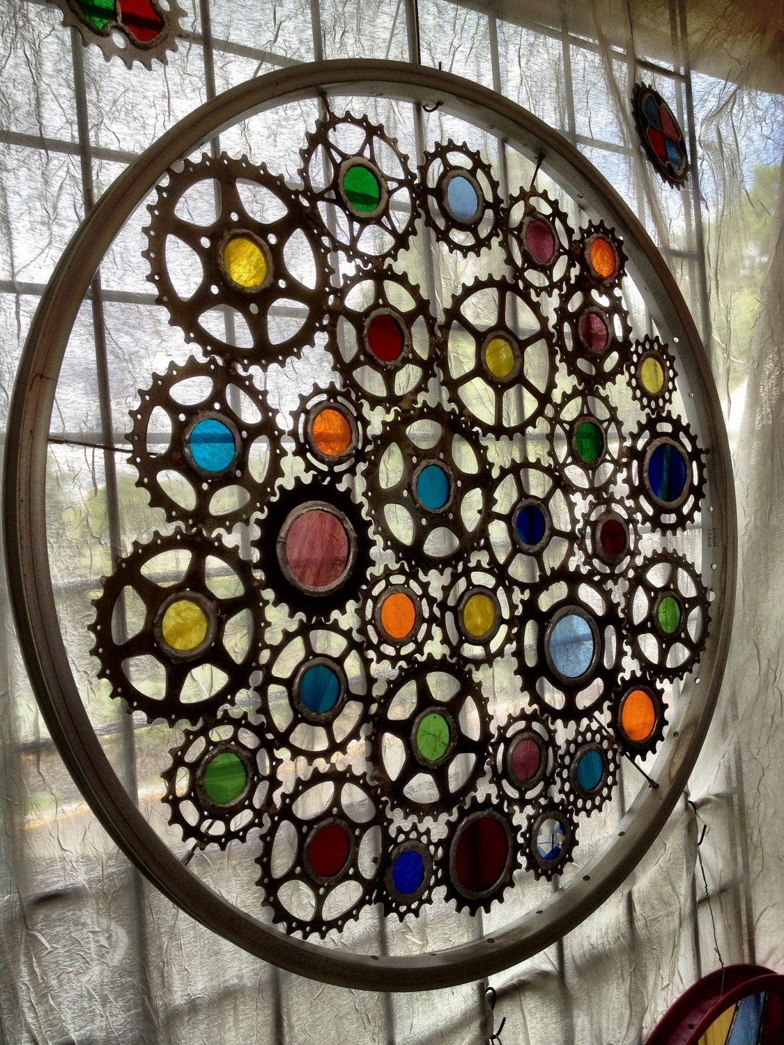 Stained glass bicycle wheel recycled via etsy for Recycled glass art projects