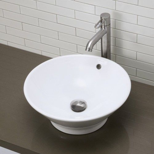 D1435cwh Round Ceramic Vessel Vessel Style Bathroom Sink White At Fergusonshowrooms Com Above Counter Bathroom Sink Sink Bathroom Sink