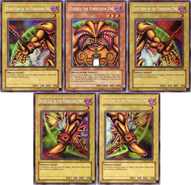 Five pieces of the forbidden one exodia the forbidden