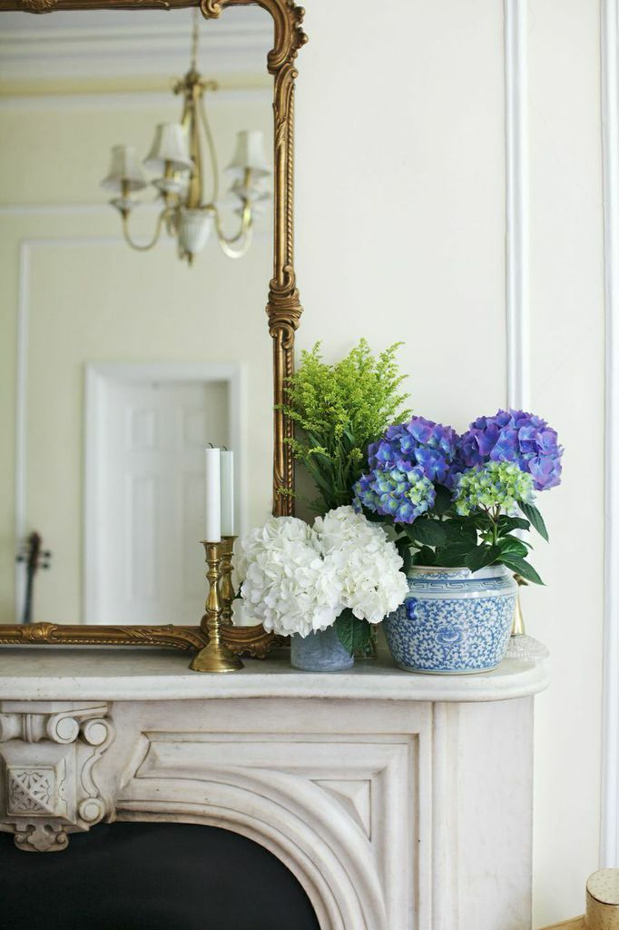 Bright Blue And White Hydrangeas In Antique Chinoiserie