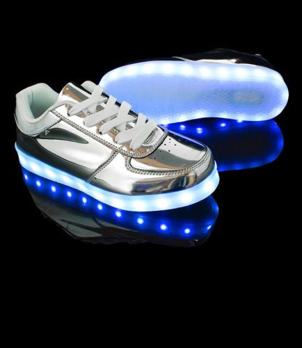 Mens-Womens-USB-Charger-Mmirror-Surface-Led-Lighted-Up-Sneaker-Shoes-Trainers