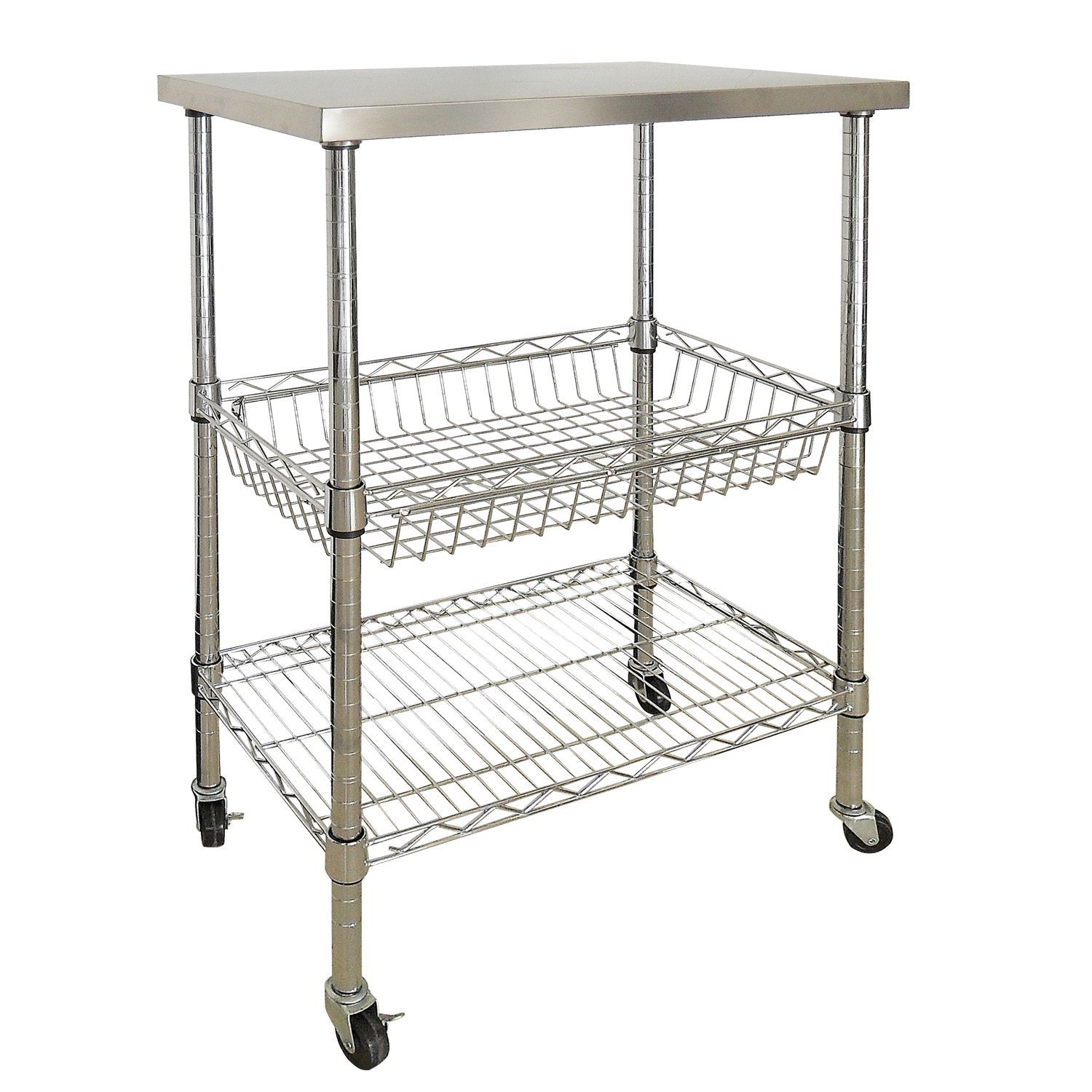 Steel Shelf For Kitchen For Garage Sandusky 3 Shelf Stainless Steel Storage Cart Sams